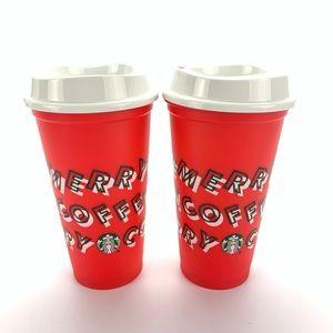 Set of 2 Starbucks 2019 Holiday Reusable 16oz Cups